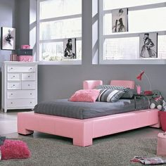 You guys, the bed is pink!!