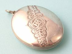 Antique Victorian sterling silver hand engraved by Engraved Locket, Vintage Lockets, Silver Lockets, Compact Mirror, Hand Engraving, Duke, Pocket Watch, Mirrors, Piercings
