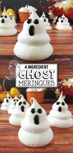 Ghost Meringues- You only need a few supplies to make this Halloween treat. These ghost meringues are bound to impress at any Halloween party or celebration. Halloween Cookies, Halloween Desserts, Spooky Halloween, Halloween Party, Halloween Foods, Homemade Halloween Treats, Halloween Dishes, Halloween Baking, Halloween 2020