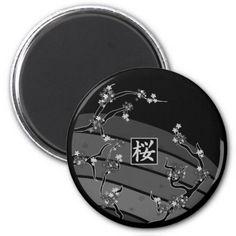 Black Cherry Blossom Tree Magnets