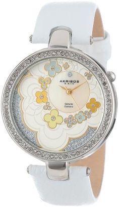 Akribos XXIV Women's AK601WT Lady Diamond Flower Dial Swiss Quartz Leather Strap Watch Akribos XXIV http://www.amazon.com/dp/B00DPE8YP6/ref=cm_sw_r_pi_dp_Yct-tb0GG8BP8