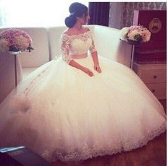 Plus Size Lace Wedding Dresses 2016 Ball Gown Boat Neck Three Quarter Wedding…