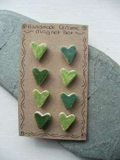 Ceramic Pottery Heart Magnet Set - Set of eight - Green This set has now been sold but similar sets can be made to order via my Etsy store click the image for more details. Ceramic Jewelry, Ceramic Beads, Ceramic Clay, Ceramic Pottery, Pottery Art, Pottery Ideas, Clay Projects, Clay Crafts, Pottery Gifts
