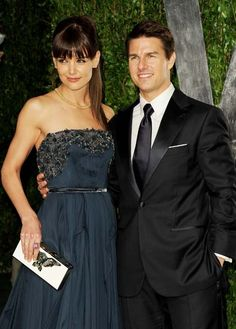 February 2012 Just months ago, Katie Holmes and Tom Cruise were photographed at the 2012 Vanity Fair Oscar Party hosted by Graydon Carter at Sunset Tower on February 2012 in West Hollywood, California. Celebrity Couples, Celebrity Gossip, Celebrity Weddings, Navy Evening Dresses, Strapless Dress Formal, Katie Holmes Tom Cruise, Cute Celebrities, Celebs, Famous Couples