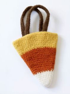 Felted Candy Corn Bag (free crochet pattern from Lion Brand)