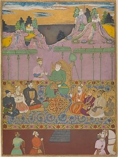 Title: The House of Bijapur  Artists: Chand Muhammad and Kamal Muhammad Object Name: Illustrated album leaf  Date: ca. 1680  Geography: India, Deccan, Bijapur  Medium: Ink, opaque watercolor, gold, and silver on paper  Classification: Codices