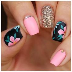 Many choices of nail art that can be worn by girls. Because nail art design is very flexible and can be adjusted to their desires. Short Nail Designs, Cute Nail Designs, Nail Designs For Summer, Toe Nail Color, Nail Colors, Cute Acrylic Nails, Cute Nails, Glitter Nails, Pretty Nails