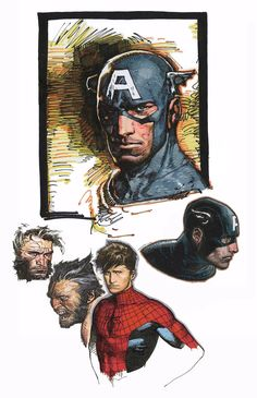 Captain America, Peter Parker - Spider-Man, and Logan - Wolverine by Travis Charest *