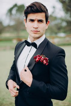 Red and pink floral boutonniere against a tuxedo // Black Tie and Berry-Toned Styled Shoot on a Cuddly Animal Farm White Tuxedo Wedding, Red Wedding, Wedding Groom, Wedding Men, Wedding Suits, Wedding Attire, Wedding Styles, Red Corsages, Black Tie Attire
