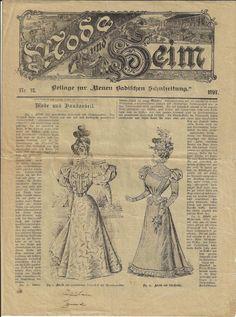 Mode und Heim - 2 Beilagen aus dem Jahr 1897 Vintage World Maps, Fashion Magazines, Side Dishes, Asylum