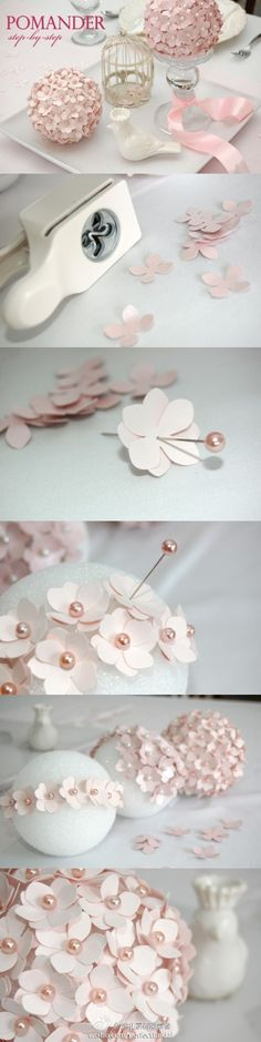 DIY pomander, picture only. these make beautiful centerpieces & are so inexpensive! easy to cut out basic flower shape from pretty fabric or paper then attach to foam ball using a pearl or metallic pin. Set on candle pedestal or fill a clear glass bowl. Best Wedding Favors, Wedding Crafts, Diy Wedding, Wedding Ideas, Paper Flowers Diy, Diy Paper, Wedding Simple, Simple Weddings, Trendy Wedding