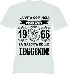 T-shirt uomo donna la vita comincia 50 anni 1966 leggende compleanno anno