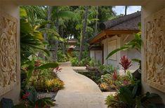 pavers palms tropical landscape garden exterior