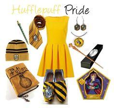 """Hufflepuff Pride"" by sad-samantha ❤ liked on Polyvore"