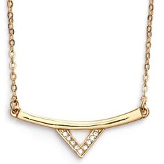 "Rebecca Minkoff V-bar necklace A crystal-kissed V suspends from the slender bar of a delicate chain necklace to add a subtle, edgy touch to any outfit. 14"" length with 2"" extender; 1 1/2"" pendant width; 1/2"" drop. Lobster clasp closure. By Rebecca Minkoff Rebecca Minkoff Jewelry Necklaces"