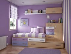 Teen Room, Charming Purple Girls Bedroom Ideas Furniture Bedroom Charming Purple Bedroom For Teenage Girls With Violet Wall Color And Wooden Wall Shelves And Space Saving: Finding the Most Popular and Cool Teenage Room Designs Nowadays Bedroom Furniture, Bedroom Decor, Furniture Ideas, Bedroom Colors, Bedroom Themes, Furniture Design, Arranging Furniture, Wood Furniture, Purple Bedrooms