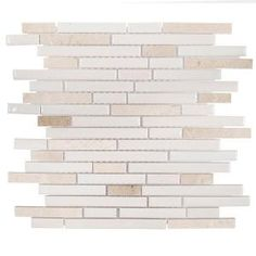 Jeffrey Court, Butter Cream in. x 8 mm Ceramic Mosaic Tile, 99331 at The Home Depot - Mobile Ceramic Mosaic Tile, Mosaic Wall Tiles, Marble Mosaic, Mosaic Glass, Gray Kitchen Backsplash, Decorative Wall Tiles, Splashback Tiles, Traditional Tile, Feature Tiles