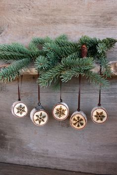 Snowflake Ornaments Set of 5 Wood burning on par TwigsandBlossoms