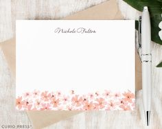 Personalized Notecard Set / Set of Flat Personalized Stationary Note Card / Custom Printed Stationary Set / Pink Flower Card // FLOWER BED