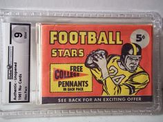 1961 Nu-Cards Football Pack GAI Graded Mint 9 Ernie Davis RC NFL Collectible…