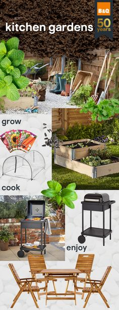 Create your very own kitchen garden. From ground to grill, you can grow mouth-watering veg that's ready to throw on the barbecue, for the perfect spring snack. Garden Furniture, Outdoor Furniture Sets, Outdoor Decor, Container Gardening, Gardening Tips, Fire Pit Uses, Vegetable Boxes, Kids Outdoor Play, Flower Landscape
