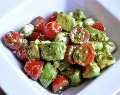 tomato, mozz, and avocado salad