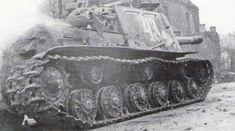 A Soviet self-propelled gun ISU 152 of 349 Battalion Heavy self-propelled guns, moves to support the 309th Rifle Division during the fighting in Breslau, in March 1945.
