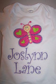 Monogrammed Butterfly Onesie