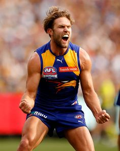 2015 Toyota AFL Grand Final - Hawthorn v West Coast - Mark Hutchings of the Eagles celebrates a goal