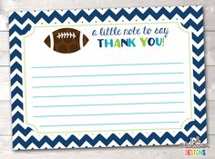 Boys Football Thank You Card, Printable Birthday Party or Baby Shower Thank You Card, Instant Downlo Printable Thank You Cards, Printable Planner Stickers, Printables, Thank You Card Size, Kids Stationery, Baby Shower Thank You Cards, Football Boys, Recipe Cards, Card Sizes