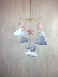 Baby mobile elephant mobile cloud mobile par JuniperStreetDesigns
