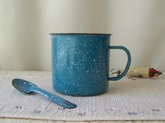 Vintage Enamelware Coffee Mug And Spoon Blue Spatterware Extra Large Mug Camping…