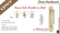 BRASS PULL HANDLE ON PLATE - BP2 X SIL.GOLD