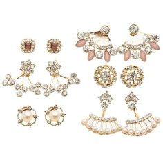 Charlotte Russe Embellished Ear Jacket & Stud Earrings Set ($6) ❤ liked on Polyvore featuring jewelry, earrings, gold, rhinestone earrings, stud earrings, charlotte russe earrings, multi color earrings and multi color stud earrings