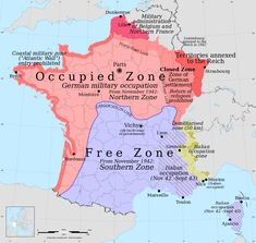 Occupation zones of France during the Second World War / Vichy France (Europe, France, World Wars) French History, European History, American History, Italy History, World History Map, Modern World History, Art History, Occupation, Paris Brest