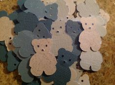 50 pc Teddy Bear Confetti   Blues and White   New Baby  by lance79, $2.99