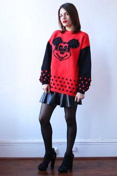 80s MICKEY MOUSE Pop art Cartoon Polka Dot Chunky Knit Disney Sweater xs s m l xl. $75.00, via Etsy.