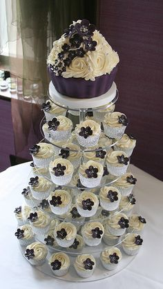 wedding cupcake ideas | Dark purple wedding cupcake tower — Cupcake Pictures