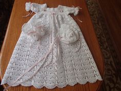 Victorian Crocheted Baby Christening Gown Dress by crochetby51bebe, $75.00
