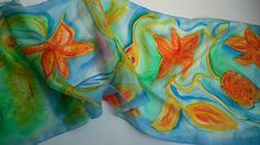 Ocean Inspired Hand Painted Silk Scarf for Ladies. by SilkLetters, $47.00
