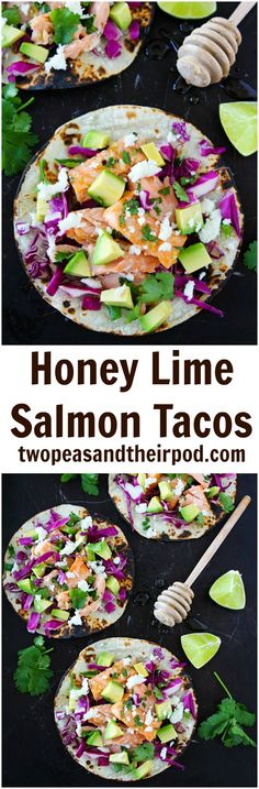 Honey Lime Salmon Tacos Recipe on twopeasandtheirpod.com These easy fish tacos take less than 30 minutes to make! They make a great dinner for Taco Tuesday or any day!