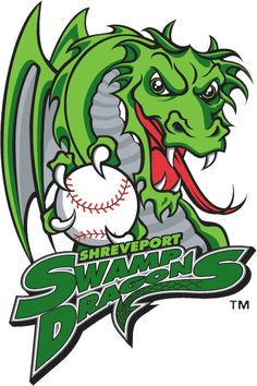 Shreveport Swamp Dragons Primary Logo (2001) - A dragon gripping a baseball with team script below