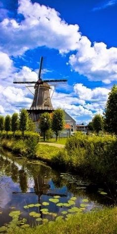 I have ALWAYS wanted to go to the Netherlands & see the fields of tulips & the windmills! The Salamander windmill on the Vliet canal in Leidschendam, South Holland, Netherlands Places Around The World, Travel Around The World, Around The Worlds, Places To Travel, Places To See, Wonderful Places, Beautiful Places, Amazing Places, Voyage Europe