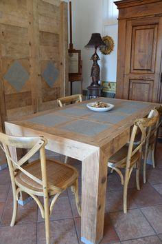 falegnameria bensi.. tavolo in legno abete prima patina con inserti in pietra