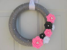 Spring Wreath,  Silver Grey, Pink, White and Charcoal Yarn and Felt Flower Wreath, Door Decoration 12 inches