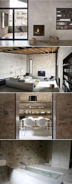 Interior Design Minimalist, Home Interior Design, Interior Decorating, Style At Home, Country House Interior, Country Homes, Architecture Design, Stone Interior, Deco Design