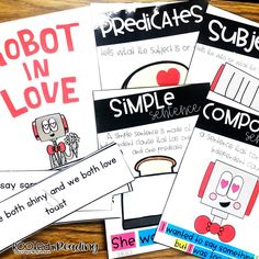 Simple and Compound Sentences activities with Robot in Love