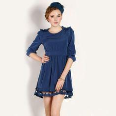 Sweet Hollow Lotus Long Sleeve Dress Pink Deep Blue