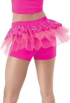Mid-rise matte nylon/spandex shortsIridescent Ultra Sparkle sequin spandex and tulle back bustleImportedFabric : Polyester/Nylon/Spandex. Pink Outfits, Dance Outfits, Dance Wear Solutions, Dance Gear, Dance Accessories, Dance Shorts, Dance Costumes, Doll Clothes, Pink Clothes