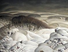 "wetreesinart: "" Harry Epworth Allen (Brit. 1894-1958), Northern winter, tempera on board, 46 x 61 cm """